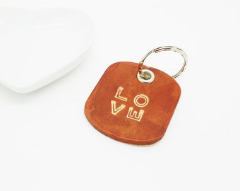 "door key leather to message ""love"" Brown"