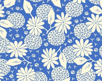 Feedsack Floral Print White on Blue - Reproduction 1930s - by the Half Yard