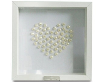 Framed Personalised Pearl Heart - 30th Wedding Anniversary Gift