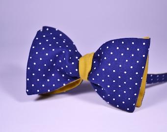 Blue polka dot bow tie, mens bow tie, yellow bow tie