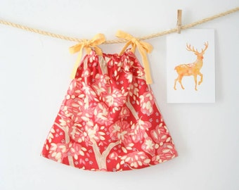Baby Girl Dress, Woodland Dress, Pink, Yellow, Pillowcase Dress, Woodland, Newborn Dress, Toddler Dress