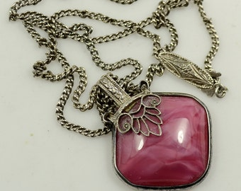 1920s Pink Opalescent Glass and Sterling Pendant on Sterling Silver Chain