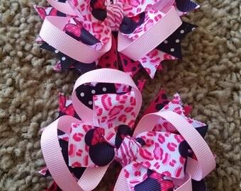 Minnie Mouse- Animal print - Cheetah- Pink- Hairbows - a set