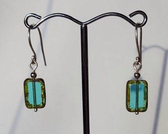 Turquoise Blue Czech glass earrings