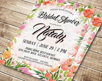 Floral Bridal Shower Invite, Floral Bridal Shower Invitation, Bridal Shower Printable, DIY Floral invitation, Custom Bridal Party Invitation