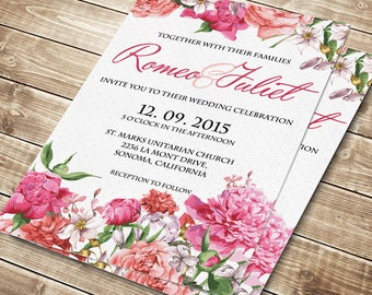 Printable Wedding Invitation, Floral wedding invite, Printable Wedding Invitation, Wedding invitation template, Flowers wedding #006