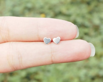 4 mm Tiny Heart Post Stud Earrings 925 Sterling Silver, Minimal Jewelry, Everyday Jewelry Gift - MI.22/SU060