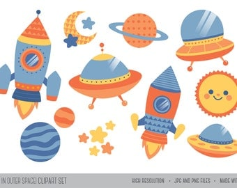 Fun in Outer Space! / Digital Clipart / Instant Download