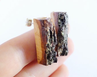 Wooden Earrings with bark