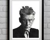 Samuel Beckett famous Irish Playwright Illustration Print - Waiting For Godot, Ireland, Portrait, Author, Books, Literature, Theatre,Vintage