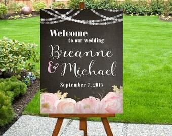 Printable Wedding Welcome Sign, Chalkboard Background - PRINTABLE - Digital File