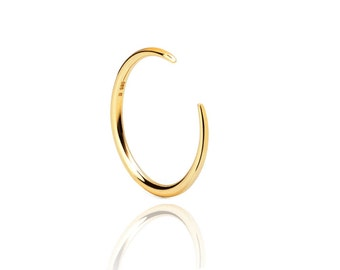 simple open ring -  Horn gold ring - tiny open ring - dainty silver horn ring - gold open ring- thin gold ring - adjustable ring