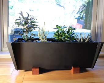 Modern Planter In Steel And Wood   Free Shipping!, Contemporary Planter,  Steel Planter Part 90