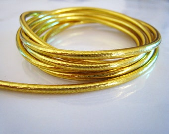 12 Yards of 2mm Gold Metallic Round Stretch Elastic Drawcord Rope Cord