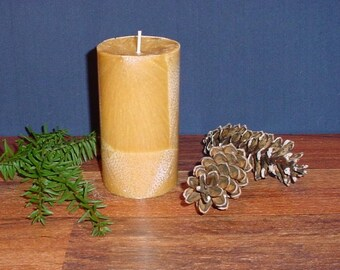 "3"" round cylinder brown palm wax pillar candle"