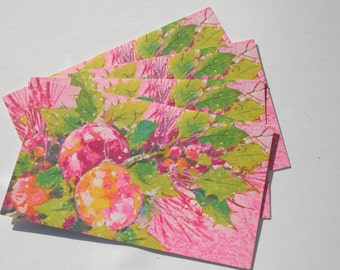Vintage Pink Christmas Card, Retro Mod Christmas, 70s 1970s Ornaments Holiday Christmas Cards with envelope, Papercraft, Lot of 4