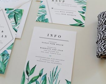 Botanical Wedding Information Card | Accommodation Card, Invitation Insert, Printable Info Card, Destination Wedding, Tropical Wedding