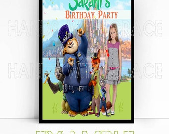 "Printable Poster Personalized for Birthday Party ""Zootopia"""