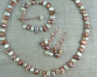 Coffee and Cream Keshi Pearl Necklace, bracelet and earring set