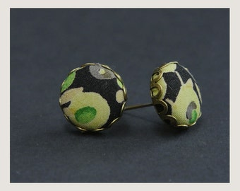 Stud Liberty Fabric button earrings - Green blossom