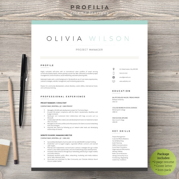 modern resume  u0026 cover letter template editable word format
