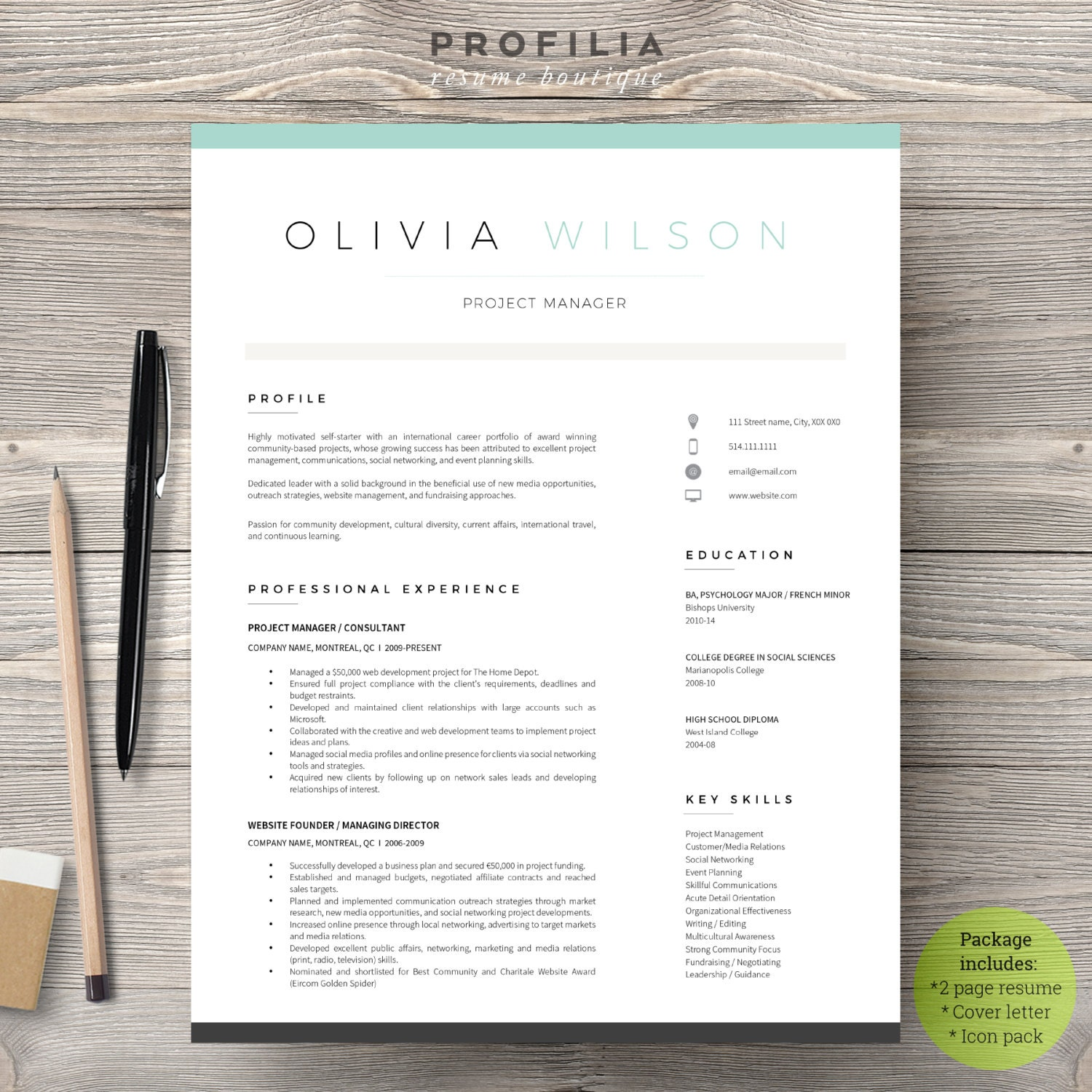 Modern Resume & Cover Letter Template Editable Word Format