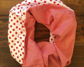 Dots and Stripes Flannel Infinity Scarf