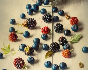 Still Life, Food Photography, Fine Art Photography, Berries, Summer Fruit, Wall Art, Artistic, Texture Art