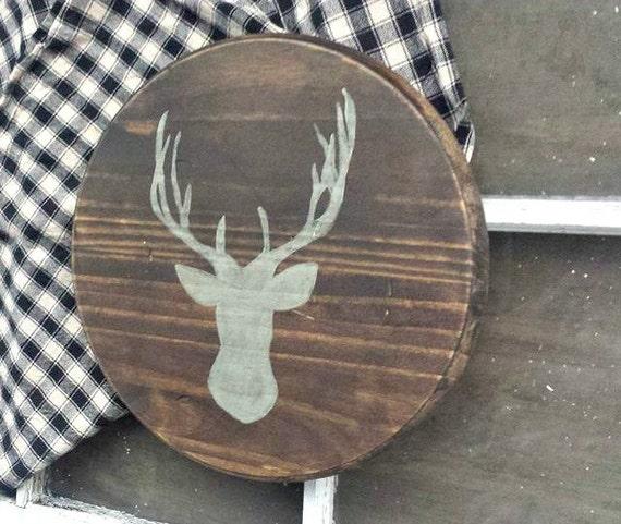 Transitional Nursery With Rustic Wood Wall: Deer Antler Rustic Wood Decor Woodland Nursery By