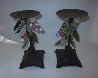 Wrought Iron Grapes and Grape Leaves Pillar Candle Holders, set of two