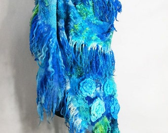 Nuno Felted scarf stole in deep blue, sapphire,turquoise aquamarine. Merino wool silk wrap. Felted shawl wool. Gift for her. IP