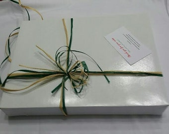 White gift box -  Gift box for any occasion . white box with raffia bow .