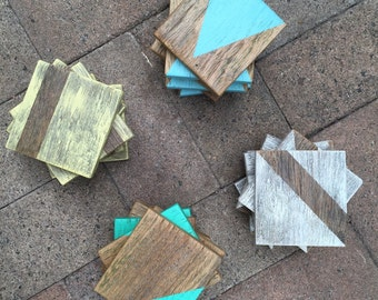 Funky recycled timber coasters.