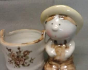 Ardco Boy with Flower Tub Figurine - Tooth Pick Holder