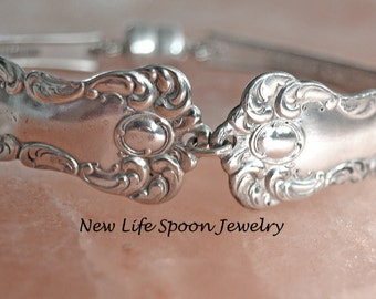 "Spoon Bracelet ""Oxford"" Silver Bracelet Silverware Jewelry Antique Flatware Spoon Handles Wedding Gift Handmade -22"