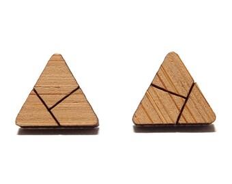 Origami Triangle Bamboo Stud Earrings, Triangle Stud Earrings, Triangle Studs, Wooden Earrings, Minimalist Earrings, Geometric Earrings