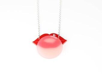 lips necklace  - laser cut acrylic necklace with swarovski rhinestone - plexiglass necklace