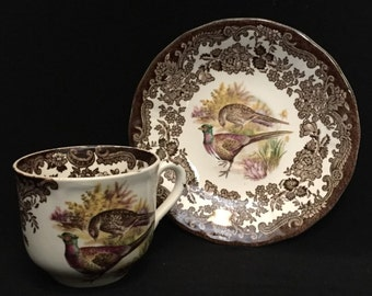 FREE SHIPPING-The Royal Worcester Group-Palissy-England-Est. 1853-Game Series-Birds-Pheasant-Partridge-Cup-And Saucer