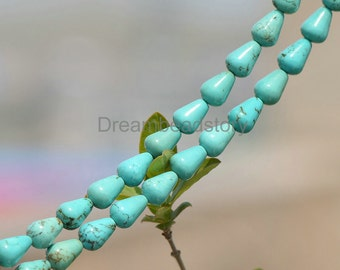 Green Turquoise Tear Drop Beads, Full Strand 8*12mm Water Dropped Beads Bulk Wholesale (JY127)