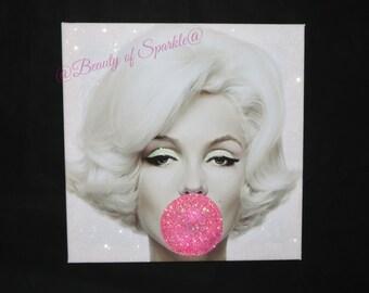 Marilyn Monroe Sparkle Glitter + Diamond Dust Canvas Print, wall art.