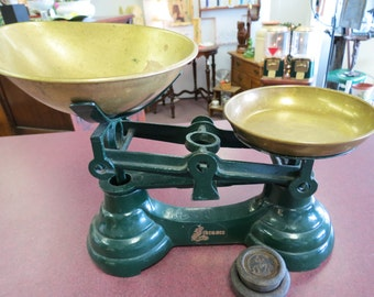 Vintage Imported English Librasco Green Cast Iron Kitchen Scale With Two Weights