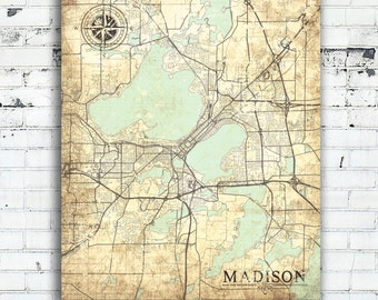 MADISON WI Canvas Print Wisconsin WI Vintage map Madison Wi Wisconsin wall Art Print poster Vintage retro home decor gift large pastel map