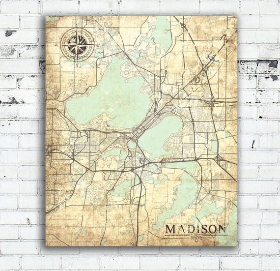 MADISON WI Canvas Print Wisconsin WI Vintage map Madison Wi