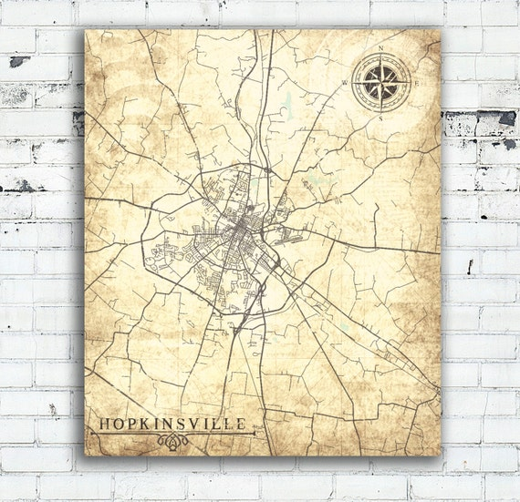 HOPKINSVILLE KY Canvas Print Kentucky City Vintage map Wall