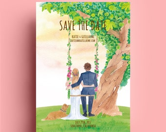 Custom illustrated save the dates,apple tree, portrait ,wedding invitation