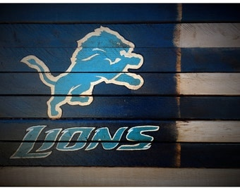 Detroit Lions Flag, Detroit Lions Wood Flag, Vintage Detroit Lions Sign, Old Detroit Lions Flag, Detroit Lions Sign