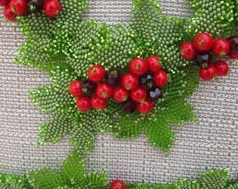 Free shipping to Easter.Handmade Ukrainian necklace Kalyna. Ukrainian jewelry. Necklace and bracelet Kalyna