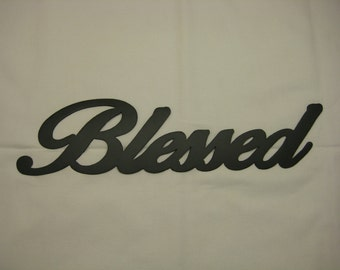 Blessed Metal Wall Word 15""