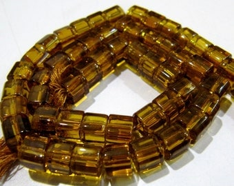 AAA Quality Citrine Color Smooth Box Beads / 5mm Size Smooth Cube Shape Beads / 10 inch ling Strand / 55 to 60 beads approx per Strand