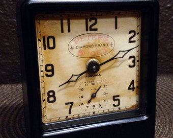 Ansonia Mechanical Advertising Alarm Clock- serviced and running